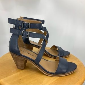 Lucky Brand blue Ressia double ankle strap sandals